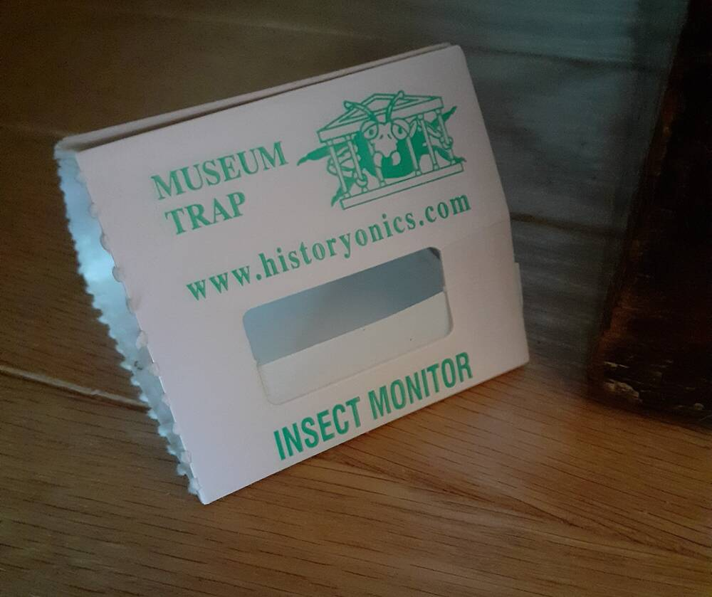 A small triangular museum trap used for monitoring insects