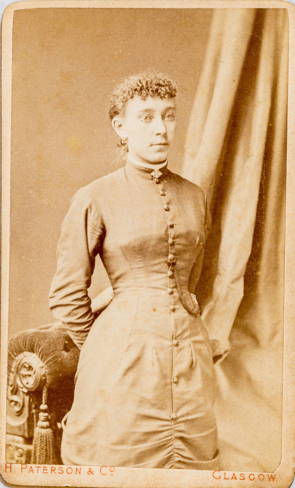 A Black And White Photo Of Young Woman Standing In Front Sofa Carte De Visite