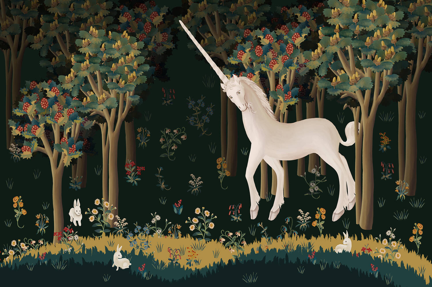 An illustration of a unicorn in a forest, surrounded by rabbits