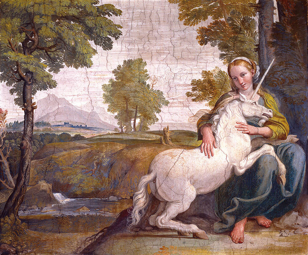 Painting 'The Virgin and the Unicorn', by Domenico Zampieri (Domenichino), fresco, 1604-5.