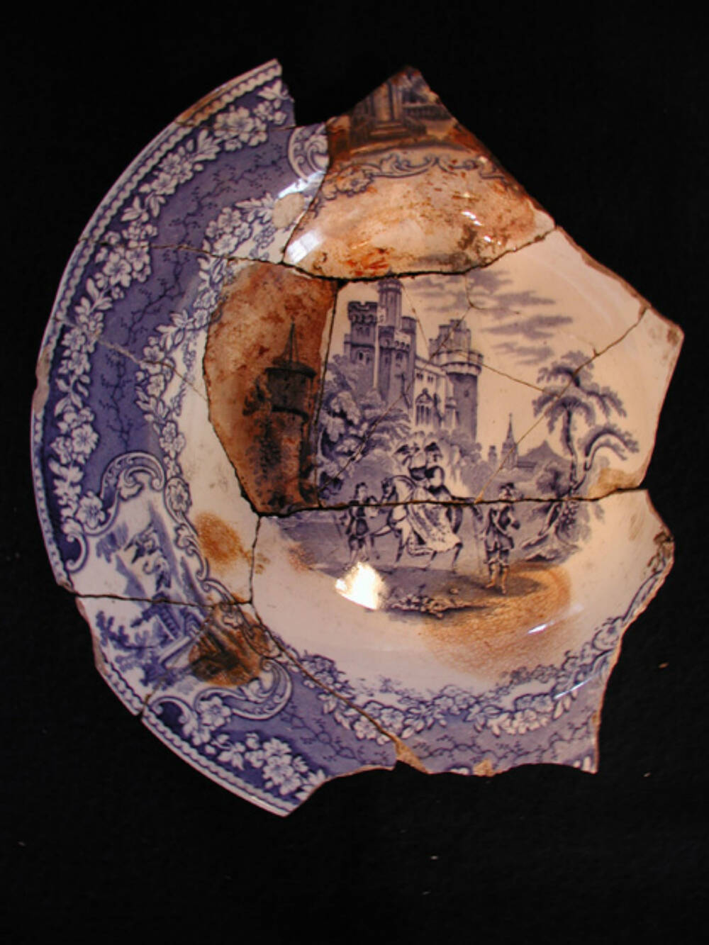 Blue and white transfer-decorated plate, 'Hawking' by Bell's Pottery, Glasgow